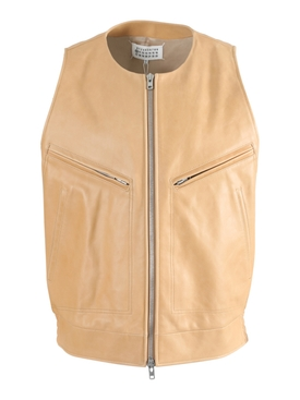 Maison Margiela - Tan Leather Gilet Jacket - Men