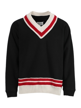 Oversized knit trim V-neck sweater