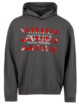 Stripe Stamp Logo Hoodie, Black STORM GREY