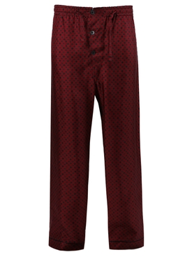 Silk three-button pajama pants BURGUNDY
