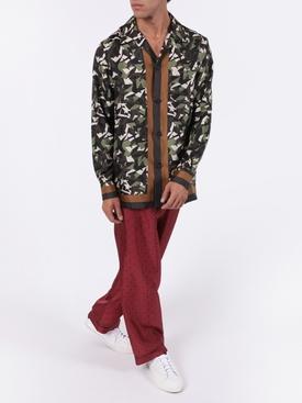 Silk three-button pajama pants BURGUNDY