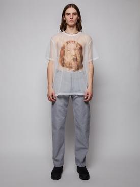 Raw finish denim jeans, sky blue