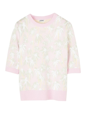 Pink daisy print knitted top