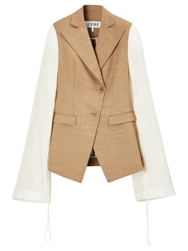 Drawstring long sleeve tailored jacket