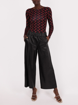 Black wide cropped leather pants