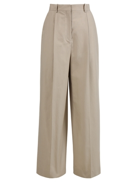 Beige Pleated wide-leg trousers
