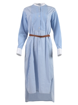 Striped Shirt Dress, Blue