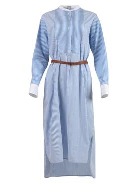 Striped Shirt Dress, Blue