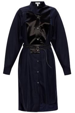 Navy Asymmetric Shirt Dress