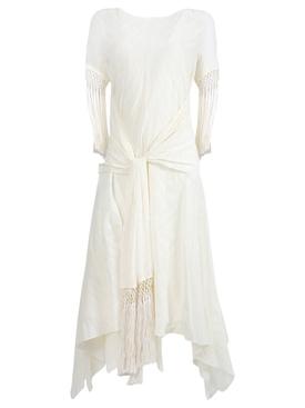 Ivory scarf fringed dress
