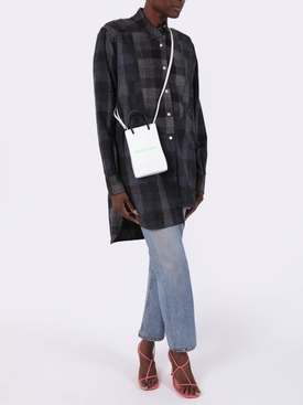 Black and grey asymmetric patchwork shirt