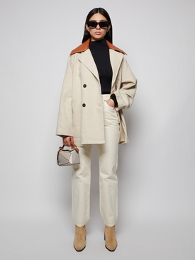 TRAPEZE PEACOAT LEATHER COLLAR
