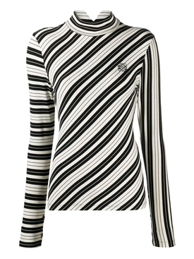 Black and white Striped turtleneck top
