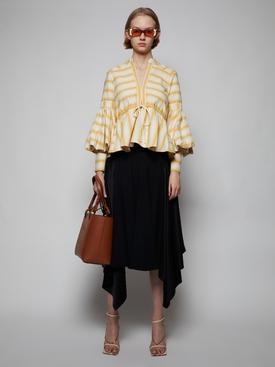 Leather Waistband Midi Skirt