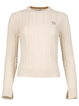 CROPPED CABLE KNIT SWEATER ECRU