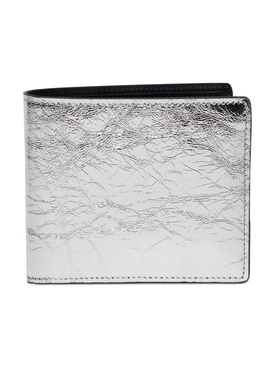 Distressed Classic Leather Wallet Silver/Black