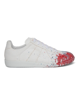 Paint Splatter Replica Sneakers WHITE AND BLUE