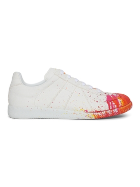 Paint Splatter Replica Sneakers WHITE AND ORANGE