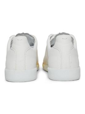 Paint Splatter Replica Sneakers WHITE AND ORANGE