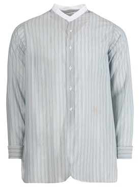 Mandarin Collar Cotton Shirt Stripes Light Grey