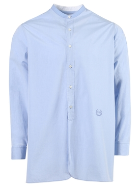 Mandarin Collar Cotton Shirt Light Blue