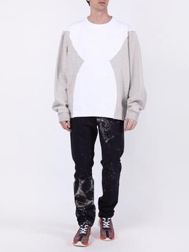 Deconstructed paneled logo sweatshirt WHITE/GREY