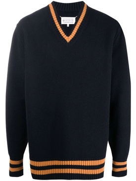 STRIPED PULLOVER SWEATER NAVY AND ORANGE