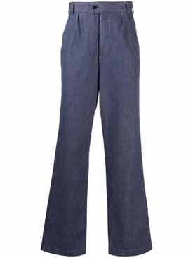 Flared Denim Pants Washed Blue