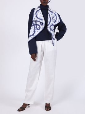 Navy and White Floral Silk Scarf Sweater
