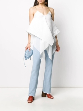 White Asymmetric Panel Blouse