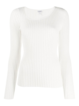 White Asymmetric Ribbed Top