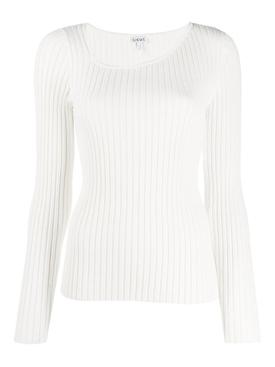 White Asymmetric Ribbed Top