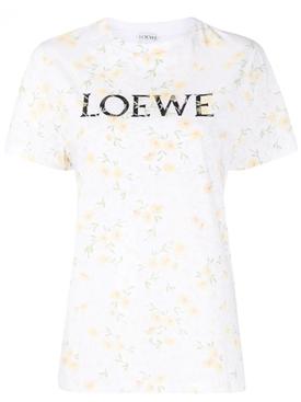 White floral print logo t-shirt