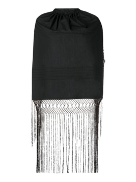 Black Backless Fringe Top