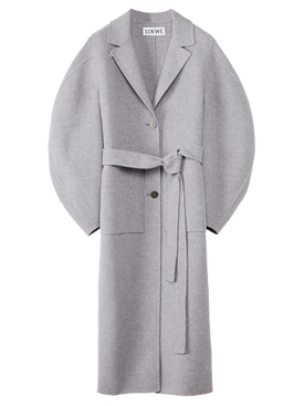 WOOL AND CASHMETE CIRCULAR SLEEVE BELTED COAT GREY