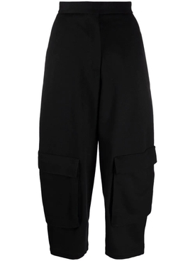 WOOL CROPPED CARGO TROUSERS BLACK