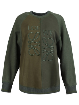 Asymmetric anagram sweatshirt, Forest and Dark Green