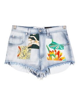 Paulas Ibiza Patchwork Denim Shorts