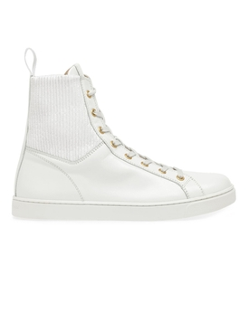 Rib Knit And Leather High Top Sneakers