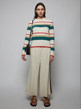 STRIPE ANAGRAM CROPPED SWEATER