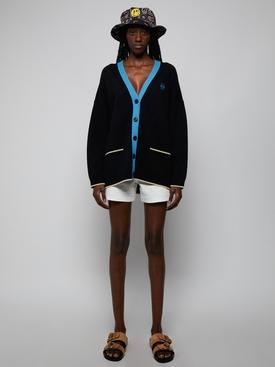 Black and Turquoise Anagram Oversize Cardigan