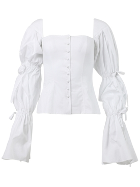 Corseted shirt with tie sleeves