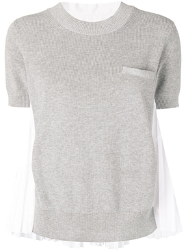 Grey and White Crewneck Jumper