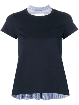 Navy Pleated T-shirt