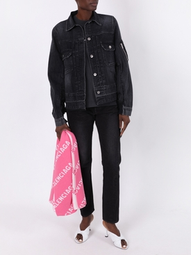 Two-tone paneled denim jacket BLACK