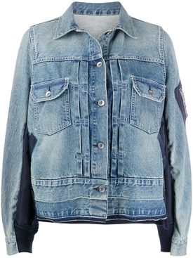Two-tone paneled denim jacket LIGHT BLUE