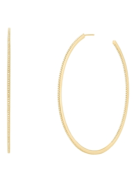 XL pavé single row hoop earrings