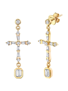 Diamond Baguette Cross Drop Earrings
