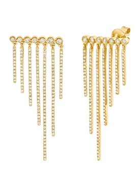 Bezel Row Pavé Diamond Fringed Earrings