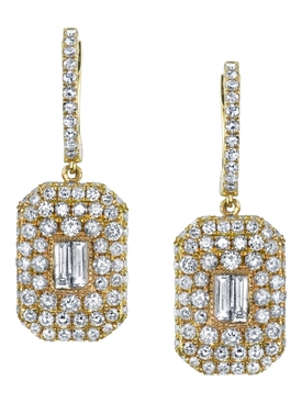 18K gold Pavé baguette drop earrings